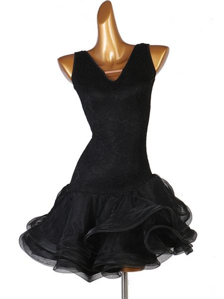 Milanoo Disfraz Halloween Traje de baile latino Vestido de volantes de encaje negro Traje de baile para mujer Halloween
