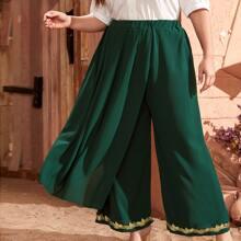 Hose mit Guipure Spitzenbesatz und breitem Beinschnitt