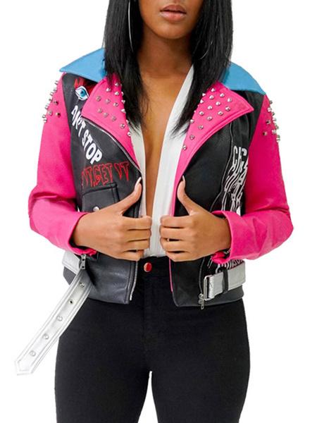 Milanoo Chaquetas cortas de mujer Chaqueta de cuello rosa Remaches de manga larga Chaqueta de moto