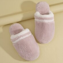 Colorblock Fluffy Slippers