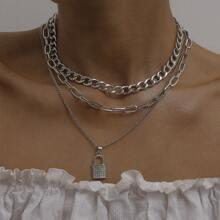 2pcs Lock Charm & Chain Necklace