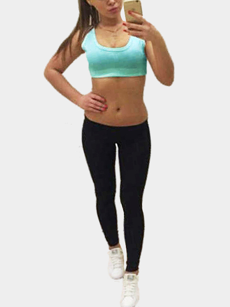 Yoins Double Color Round Neck Sleeveless Bodycon Tracksuit