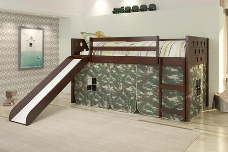 780A-TCP_750C-TC_785-CP Twin Circles Low Loft Bed with Slide & Camo Tent Kit In Dark Cappuccino