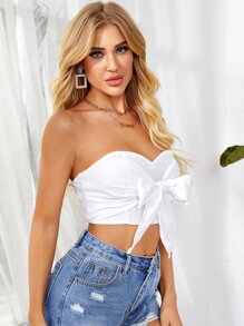 Tie Front Shirred Back Tube Top