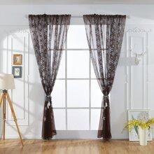 1pc Snowflake Print Chiffon Curtain