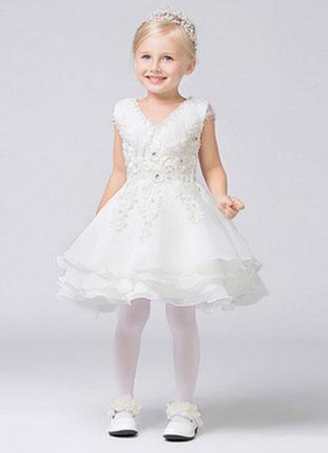 Milanoo V-Neck Illusion Lace Applique Organza Flower Girl Dress