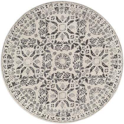 Bahar BHR-2318 53 Round Traditional Rug in Medium Grey  Charcoal  Beige