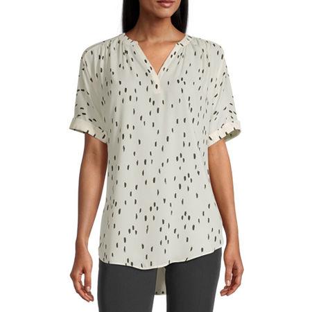 Worthington Womens Y Neck Short Sleeve Tunic Top, Petite Small , White