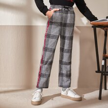 Boys Contrast Striped Tape Houndstooth Pants