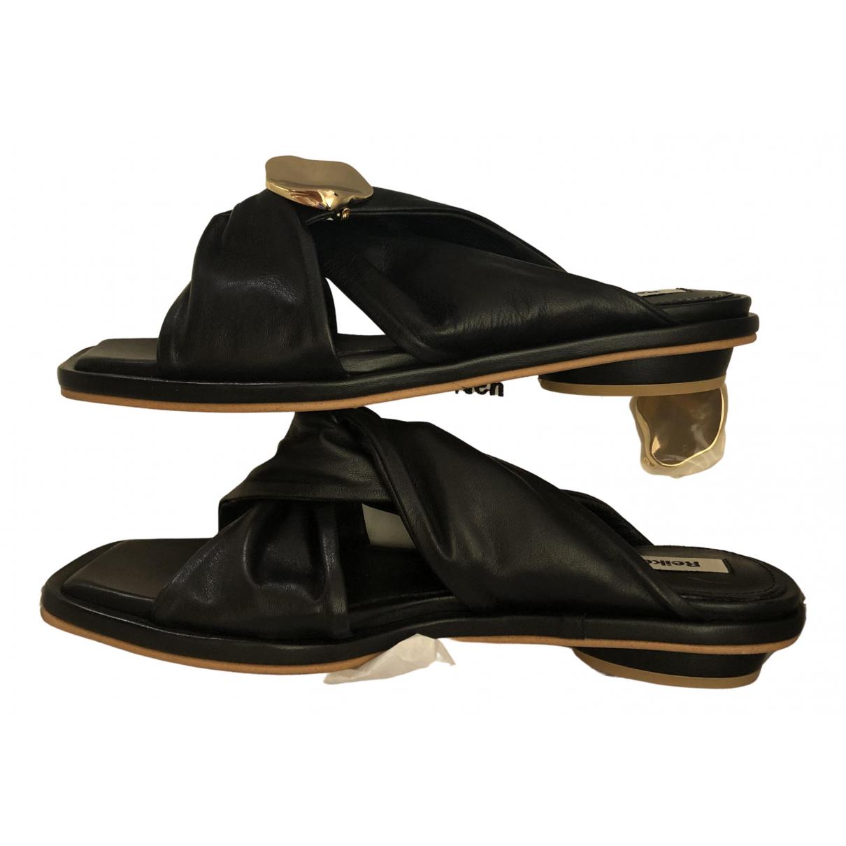 Reike Nen \N Sandalen in  Schwarz Leder
