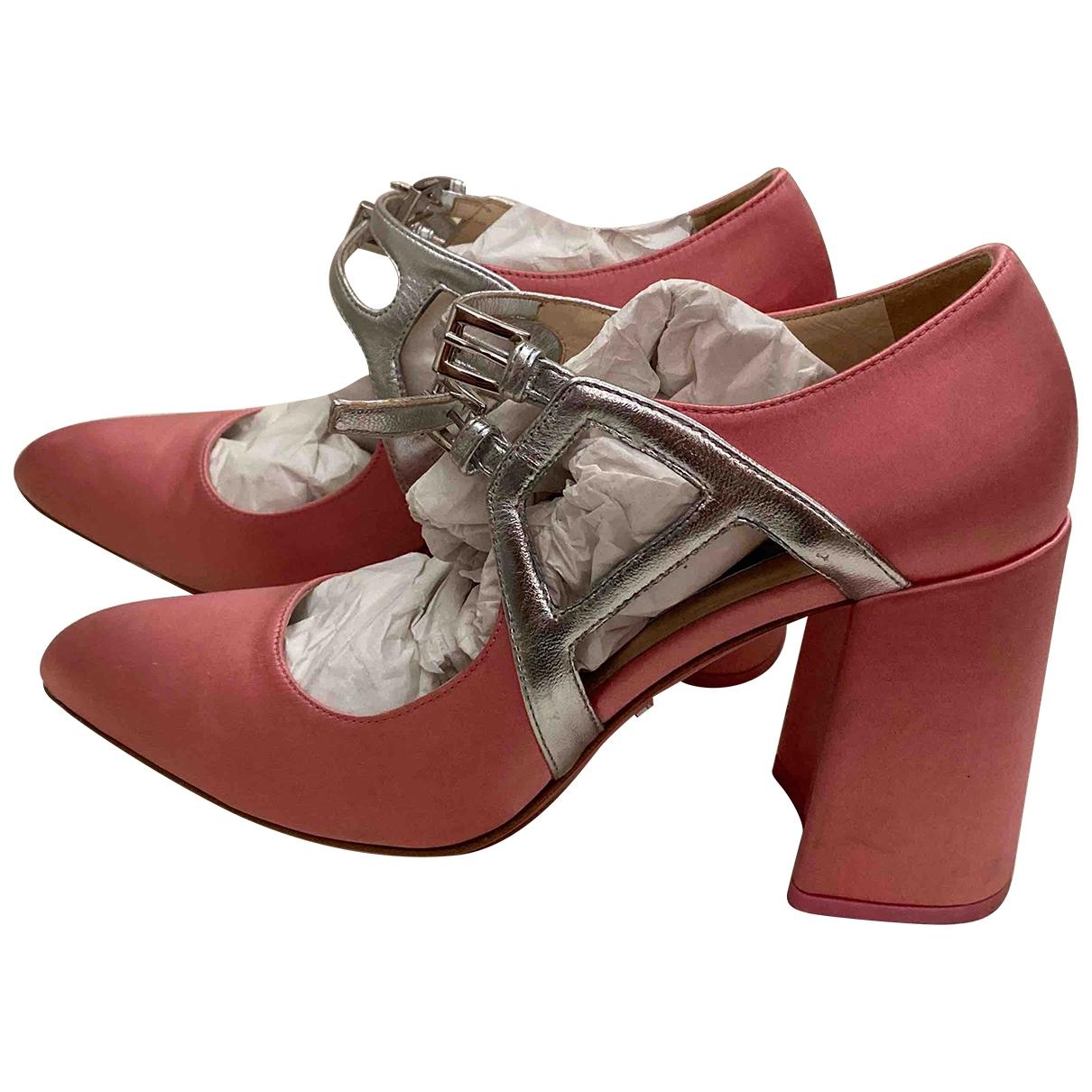 Prada - Escarpins Mary Jane pour femme en toile - rose