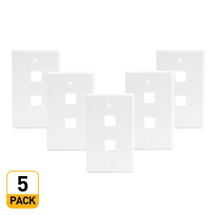 2 Port Keystone Wall Plate for RJ45 RJ11 RJ12 RCA F-Type Jack - White - PrimeCables® - 5/Pack