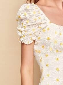 Puff Sleeve Split Hem Daisy Embroidered Mesh Overlay Dress
