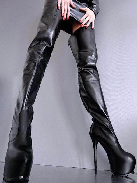 Milanoo Zapatos Negros Sexy de Mujer Botas Altas Hasta el Muslo 2020 con Plataforma con Tacon de Aguja Cremallera Botas Altas Sobre la Rodilla