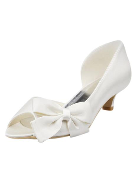 Milanoo Zapatos de novia de seda y saten Zapatos de Fiesta de tacon de stiletto Zapatos marfil  Zapatos de boda de punter Peep Toe 4.5cm con lazo