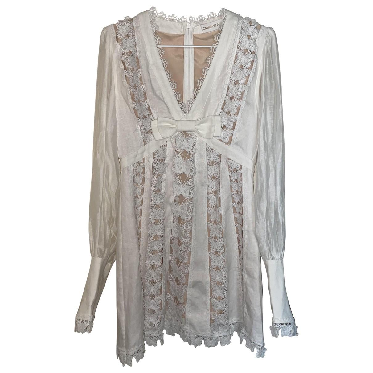 Zimmermann \N White Linen dress for Women 0 0-5