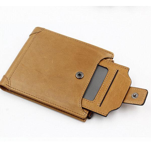Genuine Leather Wallet 6 Card Slots Vintage Coin Bag Card Holder For Men