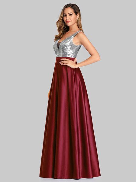 Milanoo Vestido de fiesta Cuello en V Una linea Lentejuelas sin mangas Hasta el suelo Vestidos de novia para invitados
