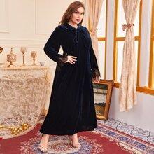 Plus Solid Tie Neck Contrast Lace Velvet Dress