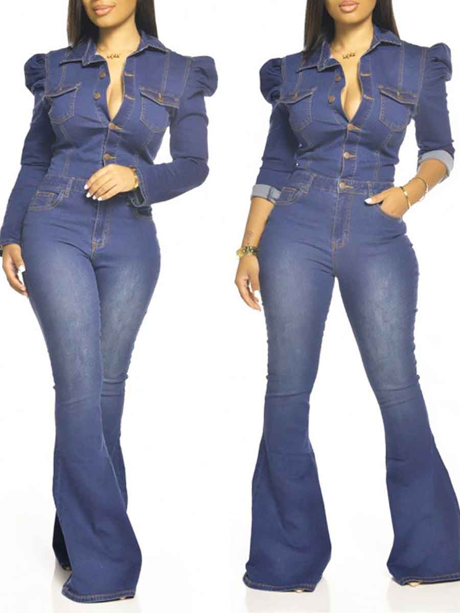 LW Lovely Trendy Turndown Collar Buttons Design Deep Blue One-piece Jumpsuit