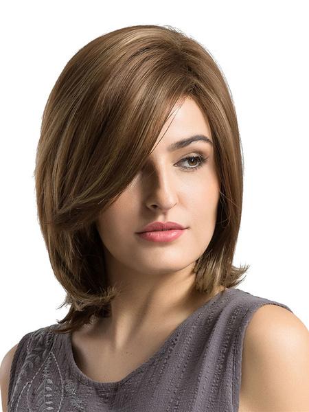Milanoo Pelucas de cabello Peluca de longitud del hombro de separacion lateral recta para mujeres