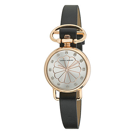 Laura Ashley Womens Black/Rose Gold Heirloom Watch La31001Rg, One Size , No Color Family