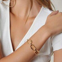 Chunky Oval Charm Rolo Chain Bracelet
