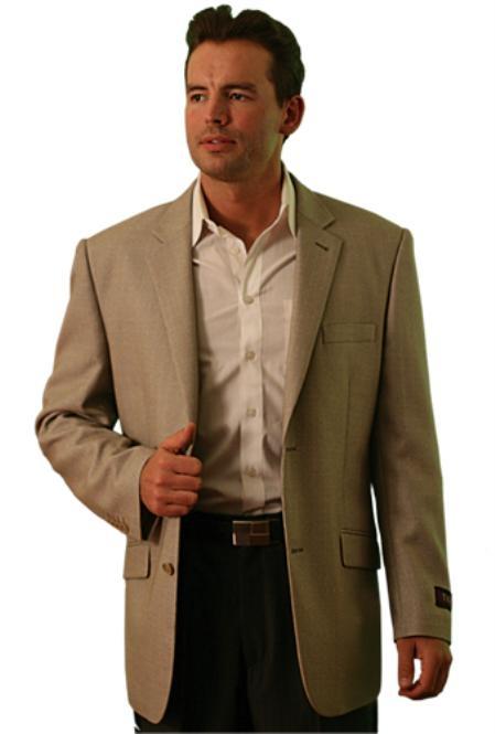 wool Two Button Blazer Tan