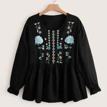 Plus Floral Embroidery Peplum Blouse