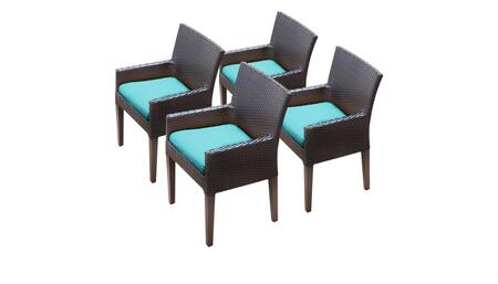 Barbados Collection BARBADOS-TKC097b-DC-2x-C-ARUBA 4 Dining Chairs With Arms - Wheat and Aruba