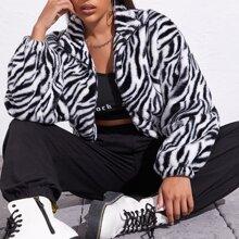 Drop Shoulder Zebra Striped Faux Fur Coat