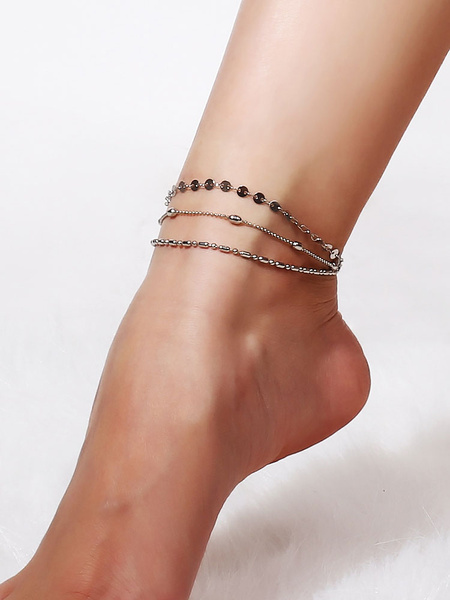 Milanoo Silver Ankle Bracelet Beach Anklet Layered Foot Jewelry