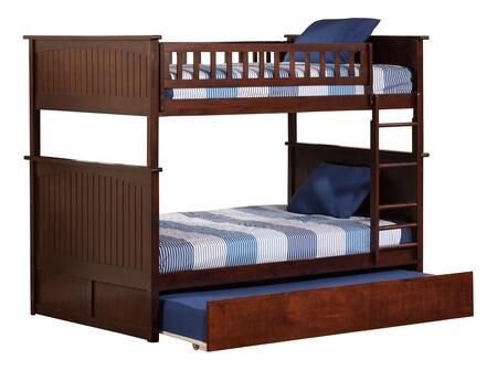AB59554 Nantucket Bunk Bed Full over Full with Twin Size Urban Trundle Bed in