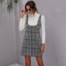Double Button Plaid Tweed Overall Dress