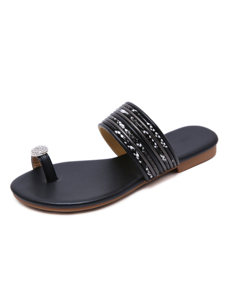 Milanoo Woman Flip Flops Beautiful Skid Resistant PU Leather
