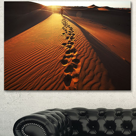Designart Hikers Footprints In Namib Desert ExtraLarge Landscape Canvas Art, One Size , Red