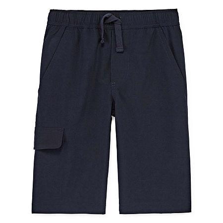 IZOD Little & Big Boys Stretch Adjustable Waist Jogger Short, 16 Husky , Blue