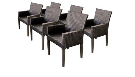Barbados Collection BARBADOS-TKC097b-DC-3x 6 Dining Chairs With Arms - No