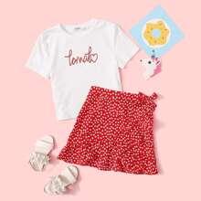Conjunto de niñas top con estampado de letra con falda floral de margarita con nudo cruzado