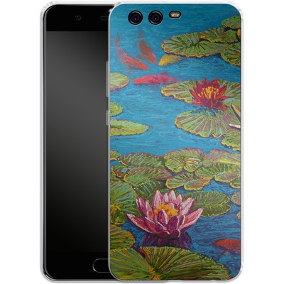 Huawei P10 Silikon Handyhuelle - Will Cormier - Six Koi in Lilly Pond von TATE and CO