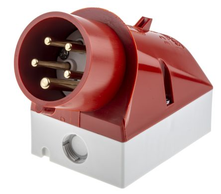 MENNEKES IP44 Red Wall Mount 5P 25 ° Industrial Power Plug, Rated At 16.0A, 400 V