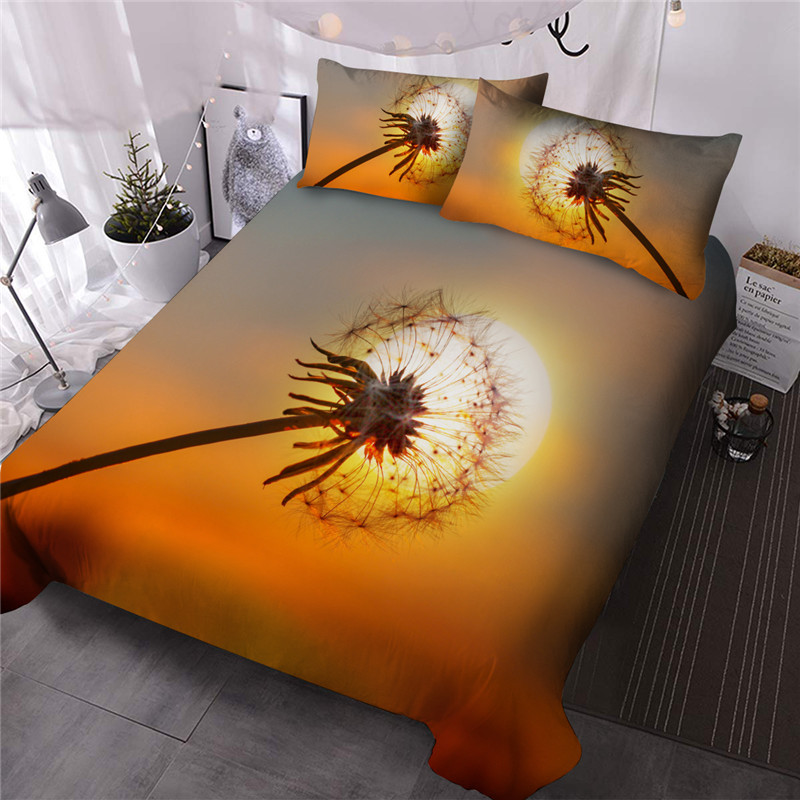 Dandelion Creative Dreamlike Reactive Printing Polyester Three-Piece Set Including 1 Comforter and 2 Pillowcases