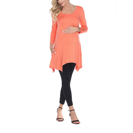 White Mark-Plus Maternity Kayla Womens Scoop Neck 3/4 Sleeve Tunic Top, 3x , Orange