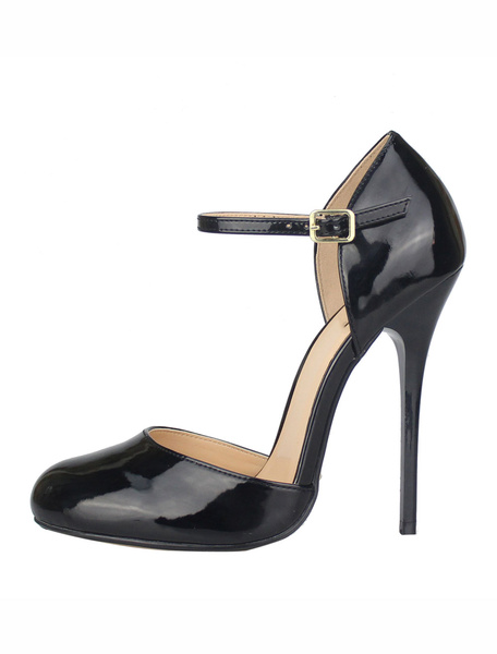 Milanoo Black Sexy Shoes Women High Heels Round Toe Buckle Detail Stiletto Heel Sexy Pumps