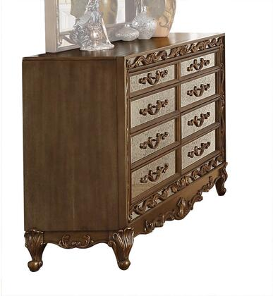 Orianne Collection 23795 68 Dresser with 8 Drawers  Vintage Mirror Front  Raised Scrolled Floral Inlays  Ash Wood Veneer Materials  Poplar and Aspen