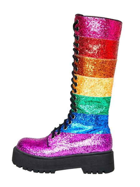 Milanoo Women Knee-High Boots Rose Round Toe Rainbow Sequined Women Thigh High Boots