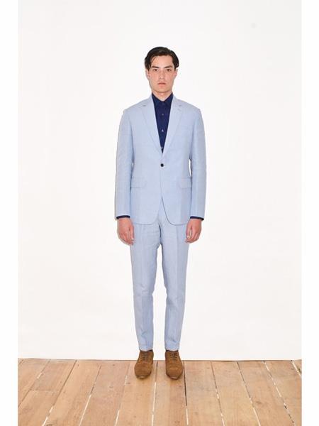 Mens Single Breasted Notch Lapel Sky Blue Linen Suit