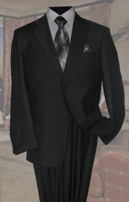Charcoal Mens Wool Suit 2 Button With Hand Pick Stitching on Lapel