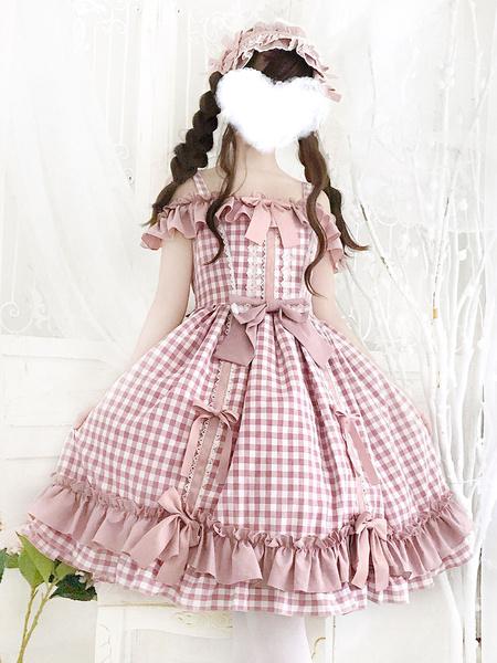 Milanoo Sweet Lolita JSK Dress Lolita Burgundy Long Sleeves Bows Lolita Jumper Skirts