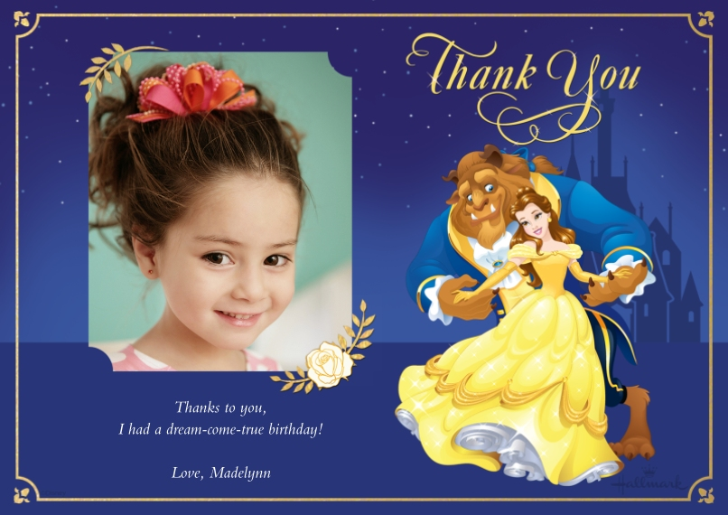 Kids Thank You Cards Flat Matte Photo Paper Cards with Envelopes, 5x7, Card & Stationery -Thank You - Beauty and the Beast